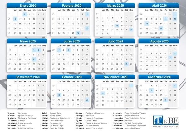 Calendario laboral de 2020