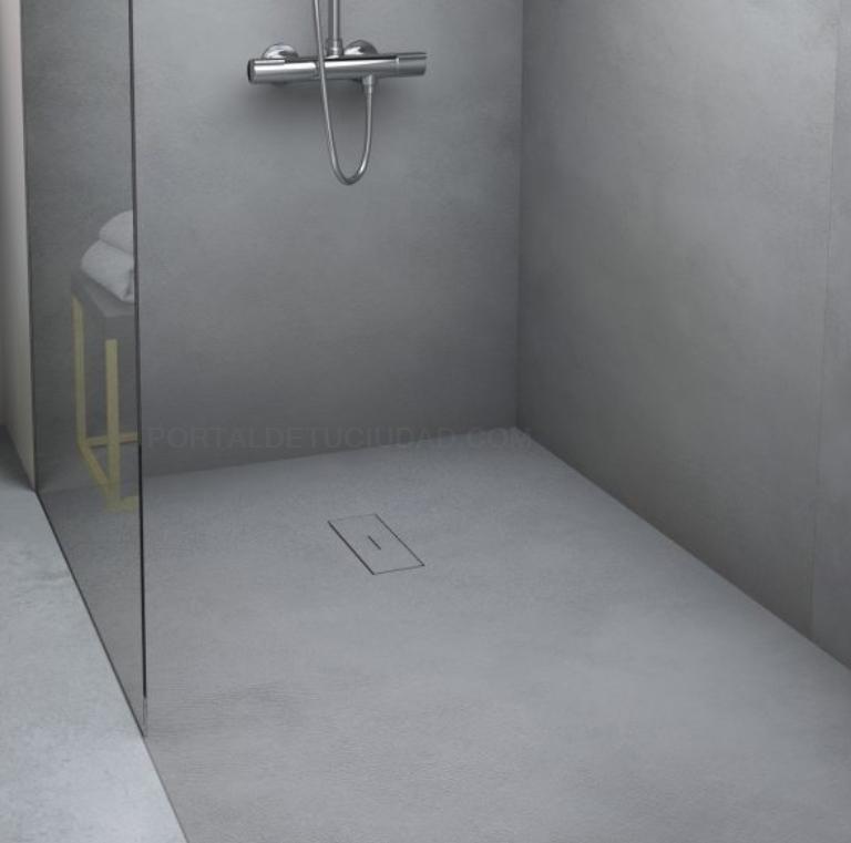 Plato de ducha gris diseño moderno con mampara fija