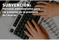 subvención:personal administrativo para las pedanías de la provincia de Cáceres.
