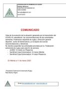Suspensión de entrenamientos y escuela de Rugby del Extremadura CAR Cáceres
