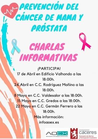 Charlas informativas: prevención del cáncer de mama y próstata.