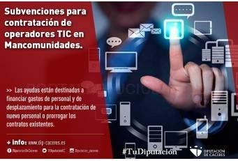 Convocadas subvenciones para la contratación de operadores TIC en Mancomunidades