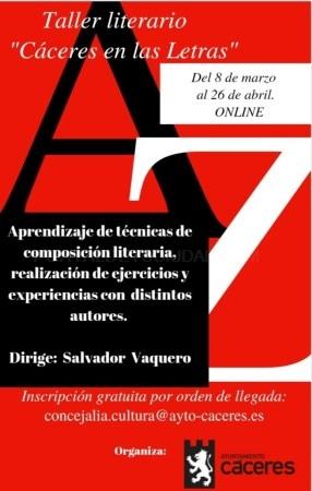 Agotadas las plazas para el taller de creación literaria online 'Cáceres en las Letras'