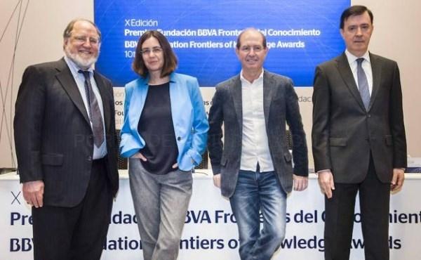 RONALD RIVEST, SHAFI GOLDWASSER Y SILVIO MICALI AYER EN MADRID. / FUNDACIÓN BBVA