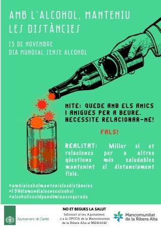 Carlet se suma a la campanya Amb l'alcohol,manteniu les distàncies de la Unitat de conductes Addictives de la Mancomunitat.
