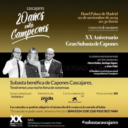 LA SUBASTA DE CAPONES DE CASCAJARES CELEBRA SU XX EDICIóN A BENEFICIO DE LA FUNDACIóN PRODIS
