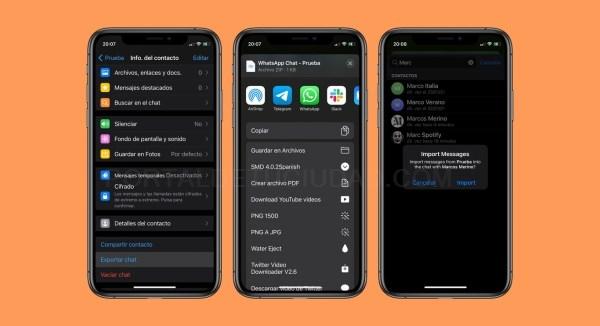 Telegram permite importar conversaciones de whastapp y de otras apps.