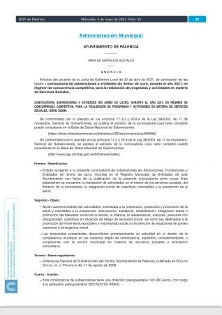 El anuncio en el BOP de la convocatoria para las subvenciones a entidades del Tercer Sector abre el plazo de presentación de solicitudes