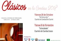 """CICLO """"CLÁSICOS EN LA CONDESA"""" CUARTETO DE CUERDAS IRANZO """"INTIMIDADES"""""""