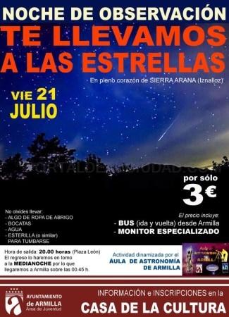 """""""Te llevamos a las estrellas"""" velada de observación de perseidas, lluvia de estrellas, desde Sierra Arana"""