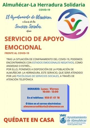 Buena aceptación del servicio del teléfono gratuito de servicio municipal de apoyo emocional en Almuñécar