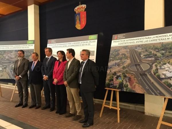 Los alcaldes del noroeste se reúnen en el inicio del soterramiento de la glorieta de la M-503.