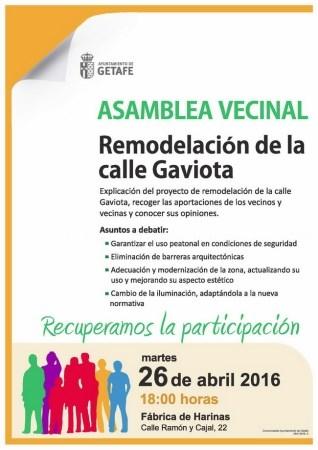 El Gobierno municipal de Getafe convoca una asamblea para la remodelación de la calle Gaviota