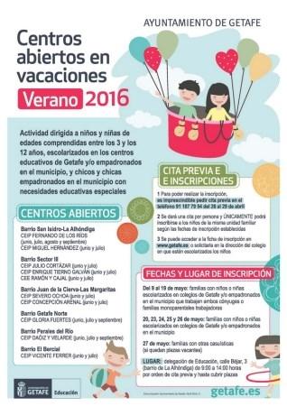 2.630 niños y niñas podrán disfrutar de los centros abiertos durante las vacaciones de verano