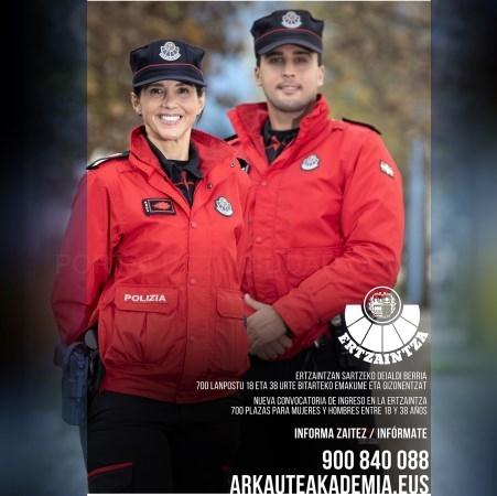Mañana se abre el plazo de inscripción a la nueva convocatoria conjunta de los cuerpos de Policía del País Vasco para 2021
