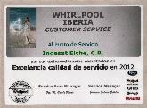 INDESAT Excelencia de Calidad de servicio en 2012, Reparación Gama Blanca San Juan