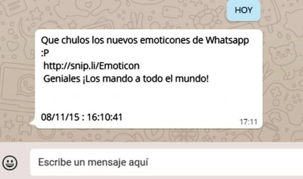 CUIDADO AL TIMO DE LOS NUEVOS 'EMOTICONES' DE WHATSAPP