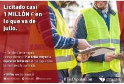 La Diputación provincial de Cáceres, sigue licitando obras a buen ritmo durante lo que va de mes de julio, con una licitación total de 932.632,18€.