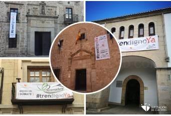 La Diputación despliega banderolas en sus instalaciones animando a sumarse a la manifestación por un Tren Digno.
