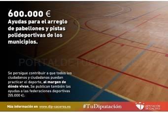 Ayudas para el arreglo de pabellones y pistas polideportivas de los municipios de la provincia.