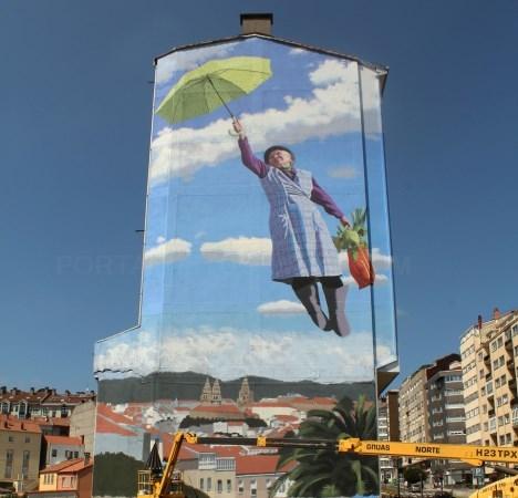 En Santiago loce un gran mural de Murazábal