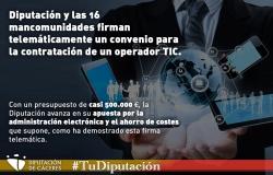 La Diputación y las 16 mancomunidades firman telemáticamente un convenio para la contratación de un operador TIC