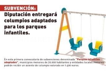 La Diputación entregará a los ayuntamientos columpios adaptados para los parques infantiles