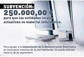 La Diputación concede una ayuda de 250.000 euros para que las Entidades Locales actualicen su material informático