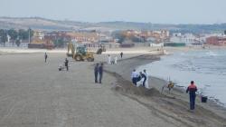 Algeciras: Concluyen las tareas de limpieza de los restos del vertido en la playa del Rinconcillo - http://www.horasur.com
