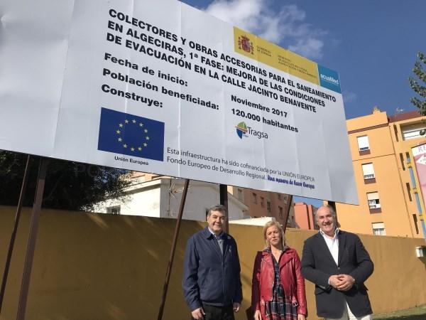 Algeciras: Landaluce valora positivamente la inminente reanudación de las obras del colector de Jacinto Benavente