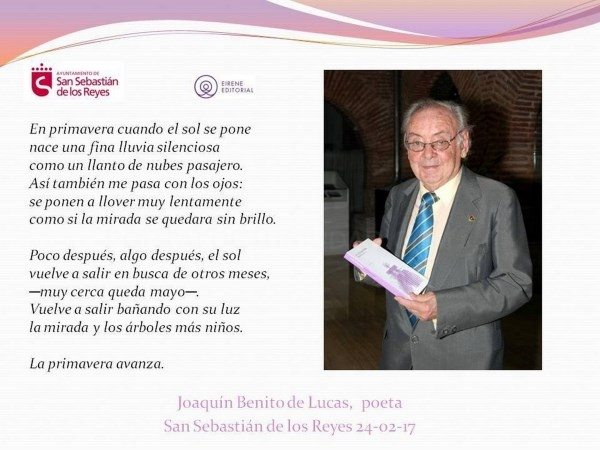 Joaquín Benito de Lucas presenta su último libro La luz que me faltaba, en el Pequeño TAM de San Sebastián de los Reyes