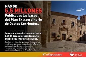 La Diputación de Cáceres publica las bases de este Plan Extraordinario.
