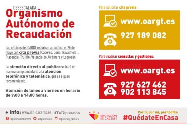Ya se puede solicitar cita para las oficinas del OARGT que reabrirán al público el 25 de mayo