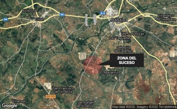 Fallece un trabajador en una finca ubicada en la carretera Badajoz-Olivenza al ser atropellado por un tractor