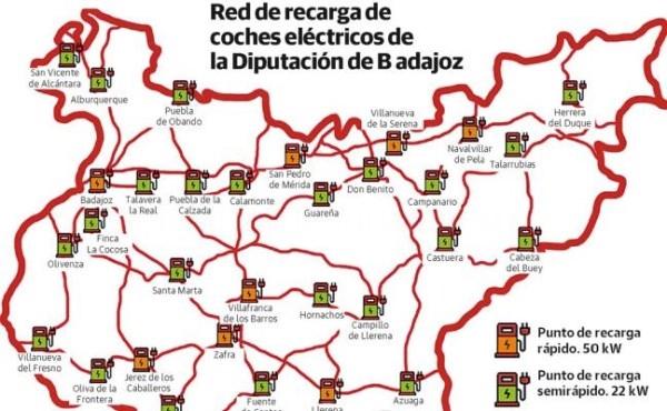 Los puntos de recarga eléctrica de la Diputación de Badajoz serán gratis dos años