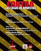 El sindicato estudiantil CEPA, organiza un acto contra las casas de apuestas
