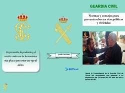 La Guardia Civil de Teruel ha elaborado un tríptico sobre consejos de seguridad para evitar robos en domicilios y vías públicas