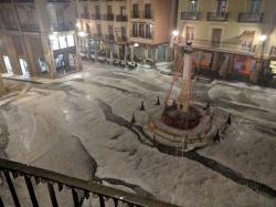 Teruel despide el verano con una  fuerte granizada