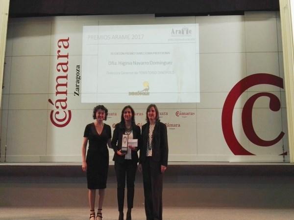 ARAME reconoce en la XVIII de sus premios a Higinia Navarro, Directora-gerente de Dinópolis su Trayectoria profesional