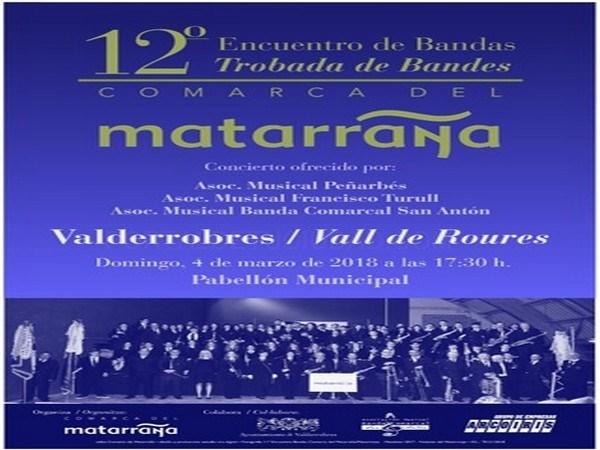 El 04 de marzo se celebrará el Encuentro Comarcal de Bandas comarca del Matarraña en Valderrobres