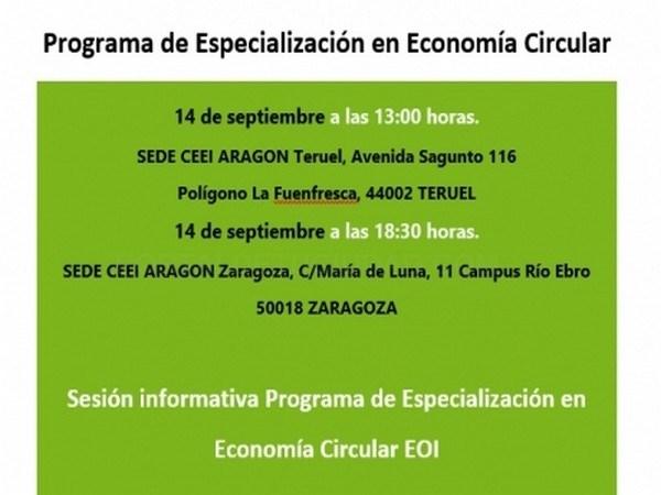 Economía y EOI organizan dos sesiones informativas en Zaragoza y Teruel sobre el Programa de Especialización en Economía Circular