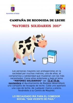 """Campaña Solidaria de recogida de leche bajo el lema """"Mayores Solidarios""""."""