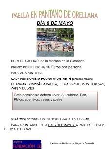 El Hogar del Mayor ha organizado una convivencia en el Pantano de Orellana, con la degustación de una gran paella gratuita para todos los asistentes.