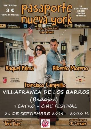 """El próximo sábado 21 septiembre, a las 20.30h,  el Teatro Cine Festival  acoge  la representación  de """"Pasaporte a Nueva York"""""""