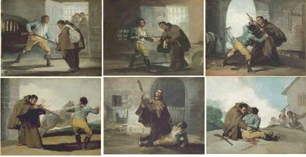"""CICLO DE LA CAPTURA DEL BANDIDO """"EL MARAGATO"""" , FRANCISCO DE GOYA, 1806-1807 / ITE.EDUCACION.ES"""