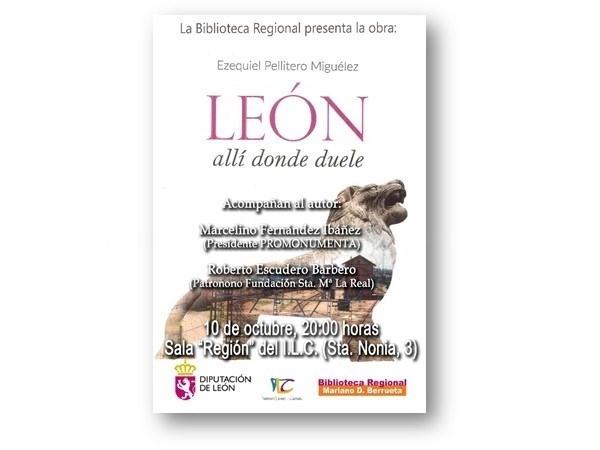 La Sala Región del ILC acoge la presentación de la obra 'León, allí donde duele', de Ezequiel Pellitero Miguélez