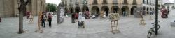 La Plaza de España de Villanueva de la Serena se llena de obras de jóvenes artistas