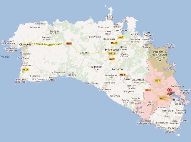 Ma municipios de menorca - Transportes menorca ...