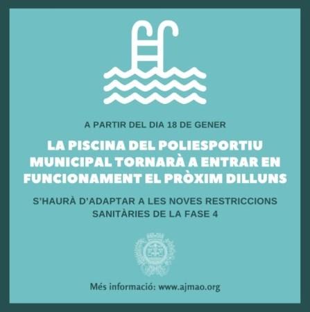 La piscina del poliesportiu municipal de Maó tornarà a entrar en funcionament el pròxim dilluns