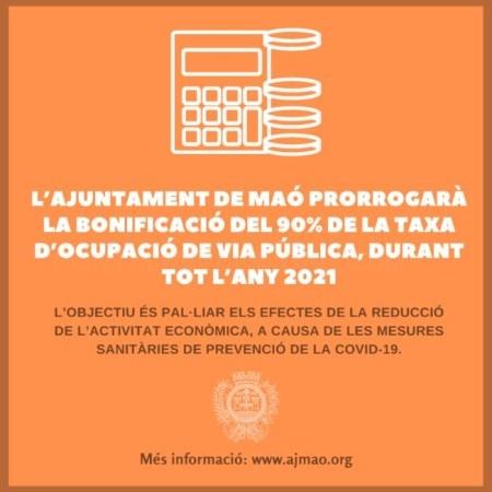 L'Ajuntament de Maó bonificarà el 90% de la taxa d'ocupació de la via pública, durant tot l'any 2021
